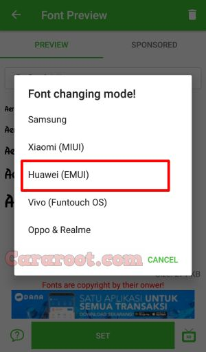 font model Huawei Nova 3e