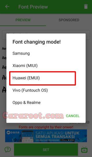 font model Huawei Enjoy 5S