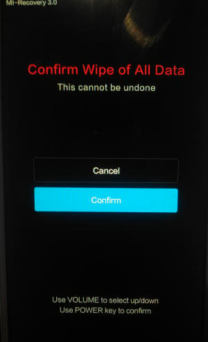 Confirm Wipe Data Mi Recovery